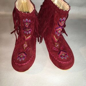 Red Suede American Indian Ankle Boots New Size81/2